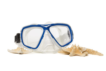 Underwater diving mask with seashells.