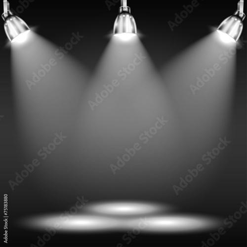Foto op Canvas Licht, schaduw Illuminated Floor In Dark Room