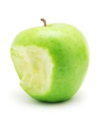 bitten green apple isolated