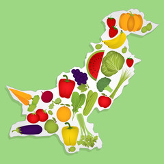 Map of Pakistan with fruits