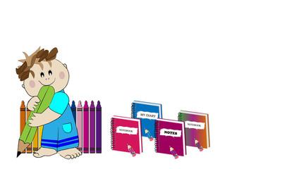 Niño, lápiz y cuadernos.
