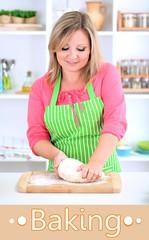 Woman kneads dough, Home baking concept
