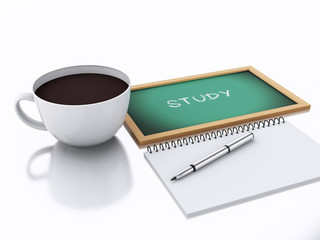 3d notepad and cup of coffee. study concept on white background