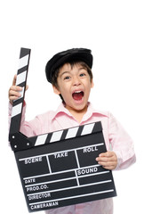 Little boy take slate studio on white background