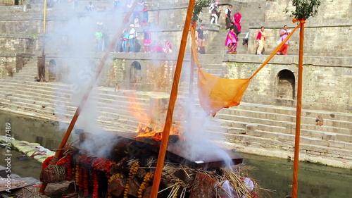 Foto op Canvas Bedehuis View of body cremation grounds, pashupatinath temple, kathmandu, nepal