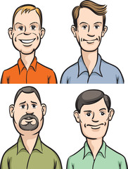 Men cartoon faces