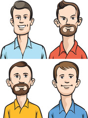 Men cartoon portraits