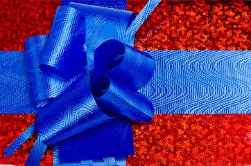 синий упаковочный бантик
