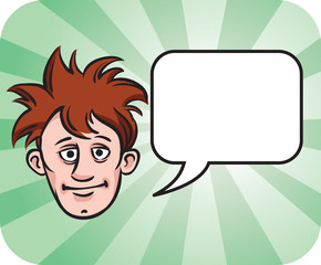 dishevelled face with speech bubble