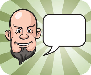 bald and bearded man face with speech bubble