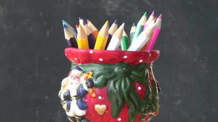 rotate set colorful pencil in decorative new year vase