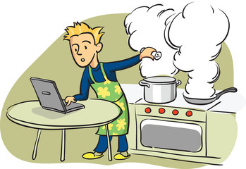 man cooking with laptop computer