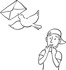 whiteboard drawing - sending mail message