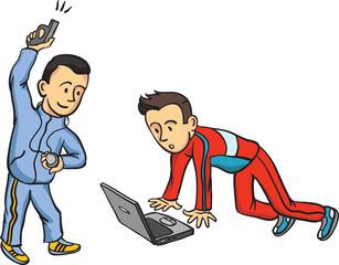 runner starting with laptop