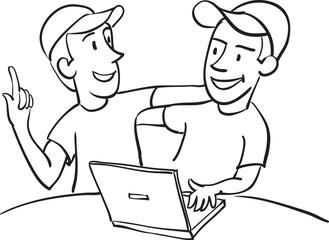 whiteboard drawing - internet friends