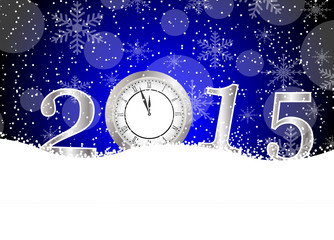 clock and numbers 2015 on to snow