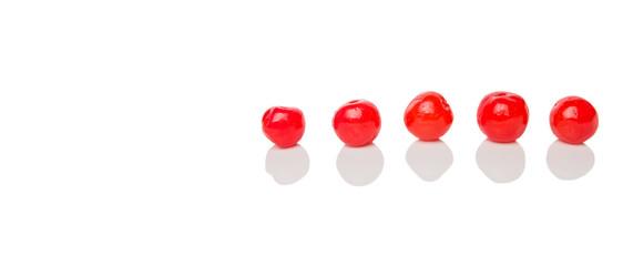 Pickled cherry fruit over white background