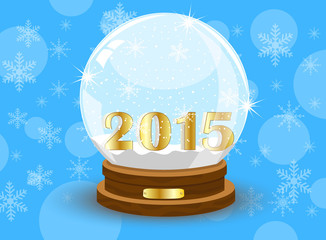 glass festive ball with numbers 2015 year