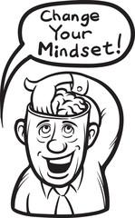 whiteboard drawing - cartoon motivation sticker - change your mi