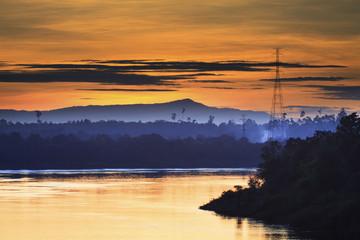 natural landscap before dawn mekong river champasak laos