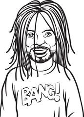 whiteboard drawing - smiling black man with dreadlocks