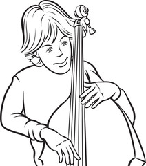 whiteboard drawing - double bass player
