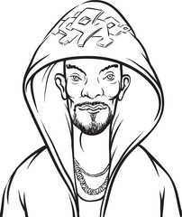 whiteboard drawing - cartoon hip-hop performer