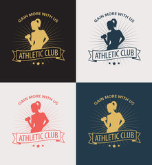 gain more with us emblem with athletic girl vector illustration