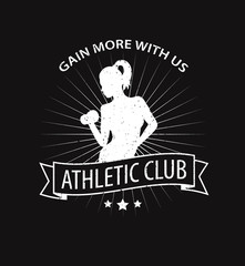 gain more with us emblem with girl scratched vector illustration
