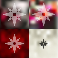 compass icon on blurred background