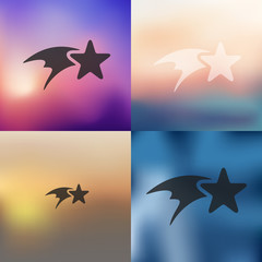 christmas star icon on blurred background
