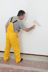 Worker painting wall in room with paint roller