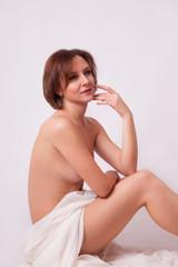 Pretty woman in white cloth