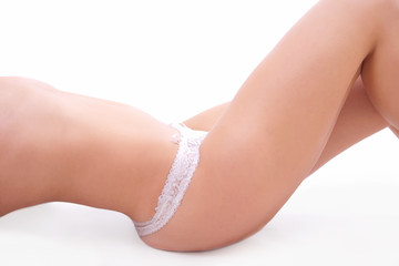 Sexy woman body leg and hip with white panties