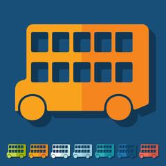 Flat design: bus double decker