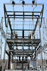 high-voltage substation with switches and disconnectors