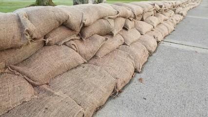 Flood Protection Sandbag Wall dolly shot