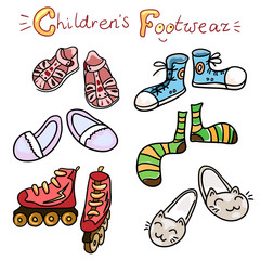 Set of icons of children's color footwear (vector)