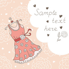 Background with a dress and a bubble for the text (vector)