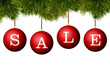 Christmas sale banner advertisement - red baubles