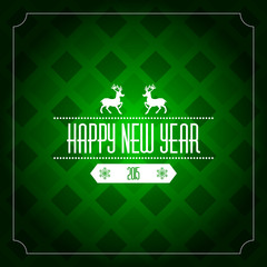 Happy new year 2015 greeting card template - green