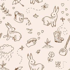 Spring doodles seamless (vector)