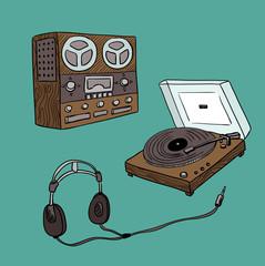 set of retro audio players (vector)