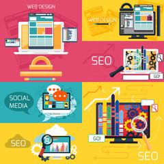 SEO optimization and web design banners