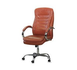 Modern office chair from orange leather. Isolated
