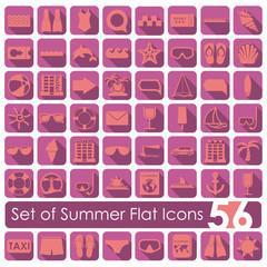 Set of summer flat icons