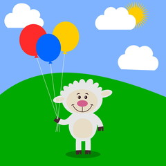 sheep in a meadow holding balloons