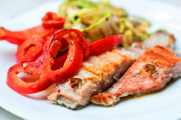 Grilled Salmon And Mixed Vegetable