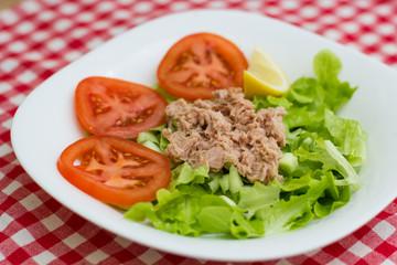 Tuna Fish Meat Over Green Salad