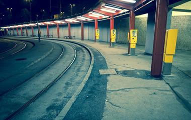 Empty tram stop